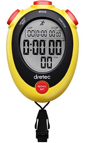 dretec ストップウォッチ 消音 勉強 時計 ラップタイム 1/100秒 スプリット アラーム メモリー SW-124AYEDI イエロー
