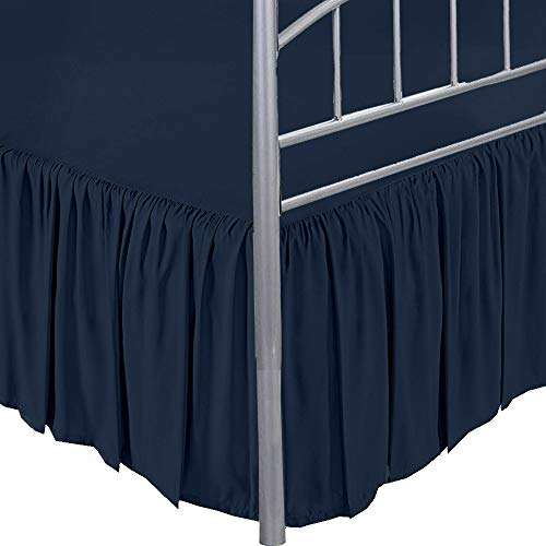 Dust Ruffle with Split Corner Ruffled Gatherd Bed Skirt with Platform Three Sided Coverage - Navy Blue, King BedSkirt, Easy Fit up to 18' Drop, 100% Microfiber Bed Skirts (Navy Blue King)