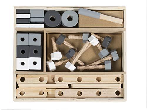 roba Holzbaukasten, 48-teiliges Kinder-Baukasten-Set, Konstruktionsspielzeug- & Werkzeug, mehrfarbig