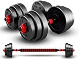 HomeMagic Juego de mancuernas de 20 kg con barra de conexión ajustable para hombres y mujeres, juego de mancuernas sólidas para entrenamiento corporal, hogar, gimnasio, hogar, mancuernas pesadas (10)