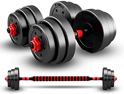 HomeMagic 20KG Dumbbells Barbell Set With Connecting Rod Adjustable Dumbbells for Men and Women, Solid Dumbbells Barbell Set for Body Workout Home Gym Home Heavy Dumbbells (10)