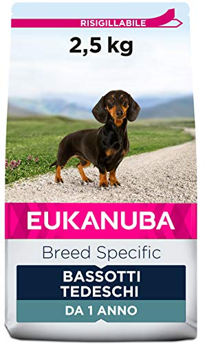 Eukanuba Breed Specific Alimento Secco per Bassotti tedeschi Adulti, Cibo per Cani Adattato in Modo Ottimale alla Razza 2.5 kg