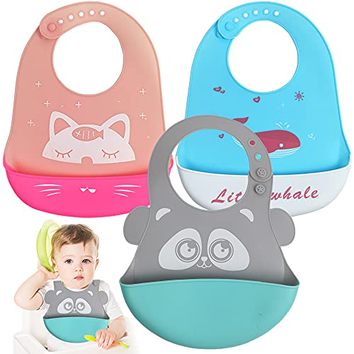 MULINHAI Baberos Bebé Silicona Impermeable,3 Pcs Babero de alimentación Comida impermeable babero Ajustables Lavable,Regalo Ideal para Bebés y Niños