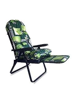 Tecnowell - Cojín redondo de repuesto para tumbona con carretilla superacolchada, color verde y flores blancas