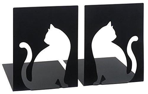 moses. Buchstützen-Set Katzen libri_x , 2er-Set Buchständer aus Metall , Zwei schwarze Metall-Buchstützen im Set mit wunderschön ausgestanzten Katzen-Motiven