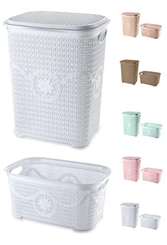 Tradify Cesto portabiancheria con coperchio 65 litri + cesto portabiancheria 35 litri (bianco)
