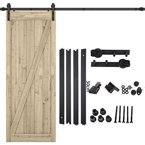 Kit de riel con ruedas para puerta corredera interior, de acero al carbono, color negro (200 cm)