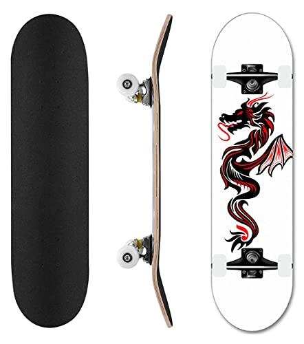 31-Zoll-Teenager-Skateboard, Skill Skateboard mit Abec-11 ist für Anfänger und Fachleute geeignet (YX-S6)-Schwarzer Drache