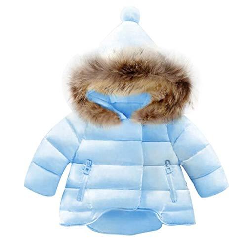 Steppjacke Mädchen Junge Kapuzenjacke Winter Kinder Hoodie Daunenmantel Mäntel Gepolsterte Jacken Übergangsjacke mit Kapuzen Tasche Kunstpelzkragen, Blau, 6-12 Monate