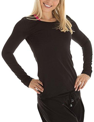 Winshape WS1 Tee-Shirt à Manches Longues pour Femme Coupe étroite pour Loisirs et Sport XL Noir - Noir
