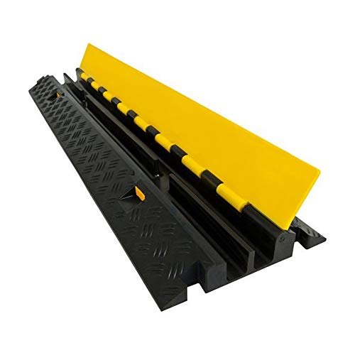 Electriduct Heavy Duty 2 Channel Cable Protector Traffic Wire and Hose Ramp Cord Cover 1.2 Inch Channels 12,000 lbs per Axle - Rubber Black Base/Yellow Lid