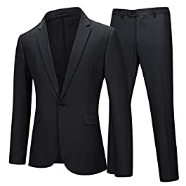 Mens Suits 2 Piece Slim Fit Suit Classic 1 Button Business Wedding Tuxedo Blazer and Trousers