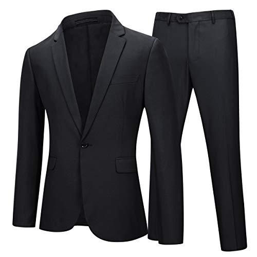 YOUTHUP Herren 2 Teilig Anzüge Slim fit Business Anzug 1-Knopf Anzugjacke mit Anzughose (XL, Schwarz)