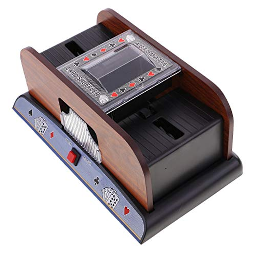 Backbayia 1-2 Deck Holz Kartenmischer Kartenmischmaschine Poker Shuffler für Kartenspiel