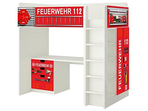 Feuerwehr Aufkleber - SH01 - passend für die Kinderzimmer Hochbett-Kombination STUVA von IKEA - Bestehend aus Hochbett, Kommode (3 Fächer), Kleiderschrank und Schreibtisch - Möbel Nicht Inklusive | STIKKIPIX