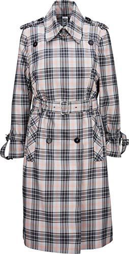 Drykorn Damen Trenchcoat-Mantel in Grau-Weiß kariert 3 / M