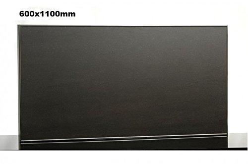 Infrarot Tafelheizung 600x1100mm - 600-700-800W mit Alurahmen + Wandhalterung, Leistung:700 Watt;Farbe Rahmen:Schwarz