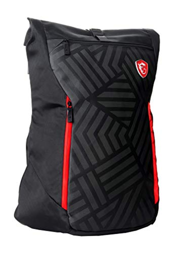 MSI Mystic Knight Gaming Laptop Backpack, Quick Access, Padded Mesh, Lightweight Polyester Exterior, Fits Up to 17' Laptop, Water Repelent IPX-2, Convertible to Shoulder Pack, Large Size