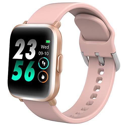 DR.VIVA Smartwatch Mujer CS201, Reloj Inteligente Impermeable IP68, Fitness Tracker with Oxigeno en Sangre Monitor, Pulsera Actividad con Pulsómetro Calorías Monitor de Sueño para iPhone Android,Rosa