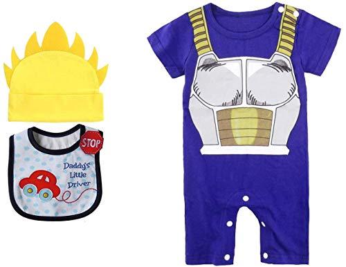 Geek Gear Dragon Ball Z Baby Vegeta Romper Toddler Jumpsuit Costume Goku Cosplay Free Bib and Hat (6M, Vegeta)