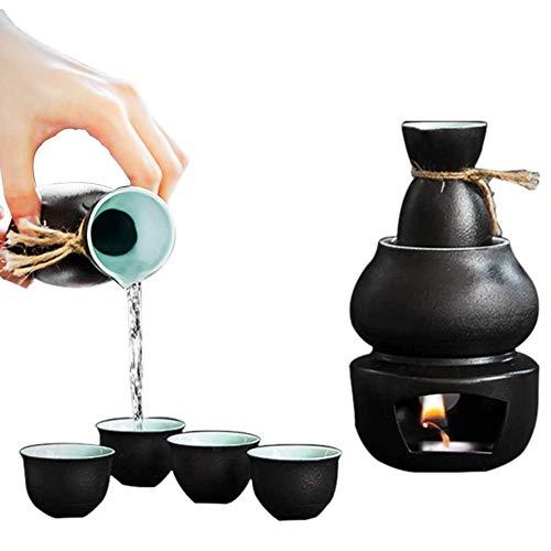 YLME Grappa Domestica Sake Set con più Caldo, Tradizionale Ceramica Caldo Saki Set 6 Pezzi, tra Cui Vetro Vino Fiaschetta Caldo Pentola Pittoresco Tessitura,Nero