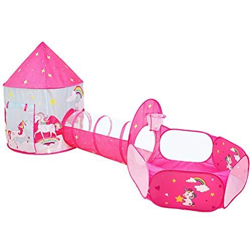 Hbao Carpa para niños Casa de Juegos de Tres Piezas Carpa portátil Plegable para niña Piscina de Bolas oceánicas para Interiores Carpa para Juegos al Aire Libre para niños Regalo para bebés