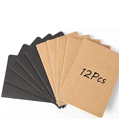 Cuadernos Kraft, 12 piezas Cuaderno A5, Cuaderno de Estudiante, Bloc de Notas de Cartón, Cuaderno Clásico, Adecuado para Tomar Notas, Dibujar, Garabatear, Estudiar, Trabajar