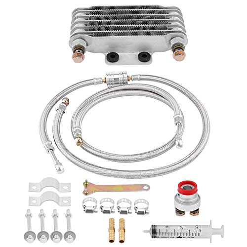 Keenso 85ml Aluminum Motorcycle Engine Oil Cooler Kit Oil Cooling Radiator System Kit for Honda GY6 100CC-150CC(Silver)