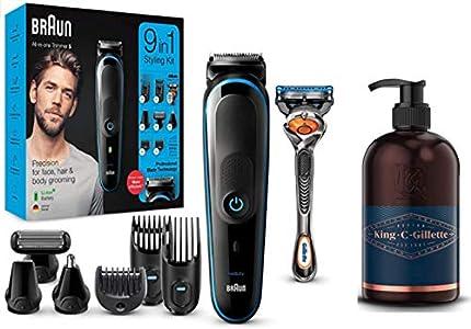 Braun MGK5280 9 en 1 - Máquina recortadora de barba, set de depilación corporal y cortapelos para hombre + King C. Gillette Gel para Barba y Rostro con Agua de Coco, Aceite de Argán y de Aguacate
