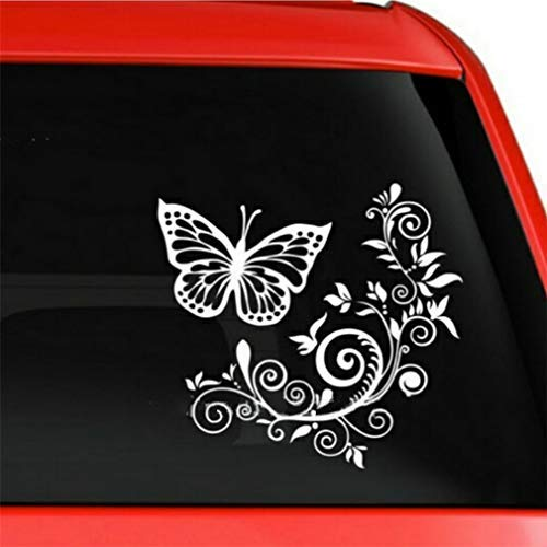Idiytip papillon fleur voiture pare-brise arrière autocollants autocollant pour ordinateur portable moto vélo bagages, blanc
