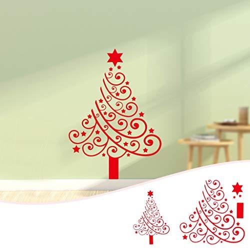 PMSMT 2 uds, Pegatinas de Pared de árbol de Feliz Navidad, Pegatinas de Pared de Ventana de Tienda de Año Nuevo de Navidad, Pegatinas Decorativas de Fiesta de Navidad roja