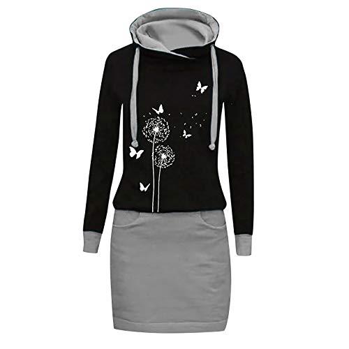 Xmiral Kapuzen-Kleid Farbblock Langarm Damen Lange Sweatshirt Beiläufig Fake Zwei Pullover Kleider(a-Grau,XL)