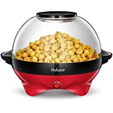 Popcorn Machine, 6-Quart Popcorn Popper maker, Nonstick Plate, Electric Stirring with Quick-Heat...