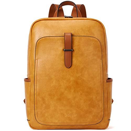 BROMEN Rucksack Damen Leder 15,6 Zoll Laptop Tagesrucksack Schulrucksack für Uni Arbeit Reisen, Gelb
