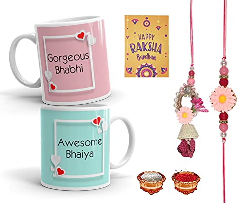 RGUC Rakhi for Brother and Bhabhi Gift Pack Designer Lumba Rakhi Set, 2 Printed Coffee Mug, Rakshabandhan Special Card, Roli Chawal) (Set 6)