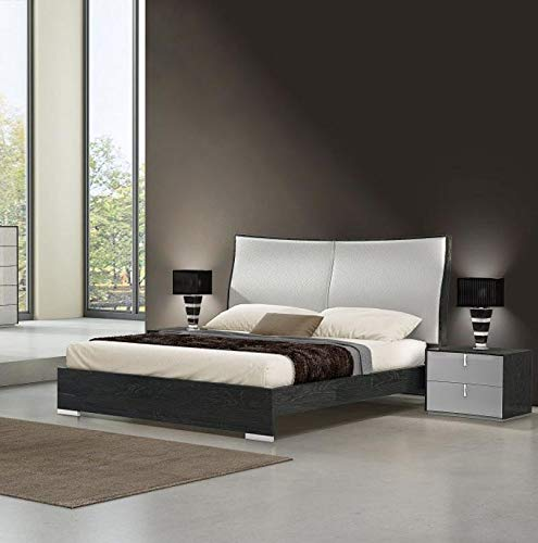 Best Review Of Modern Grey Finish & Light Grey Eco Leather Queen Bedroom Set 3 Pcs Soflex Vera