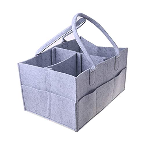 PINGDI Organizador de pañales portátil para bebé, cesta de almacenamiento de fieltro con compartimentos intercambiables