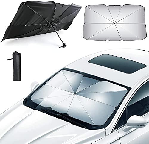 Parasol Coche Delantero Parasol Protector Solar para Coche Sombrilla Parabrisas Plegable Reduce...