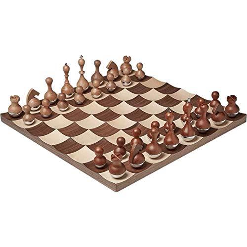 U/D Wobble Chess Walnut Wood con Base de Acero Inoxidable Juego de Mesa de ajedrez de Lujo (Color : Marrón, Size : 38 * 38)