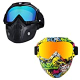 Motorcycle Helmet Riding Goggles Glasses With Removable Face Mask,Detachable Fog-proof Warm Goggles Mouth Filter Adjustable Non-slip Strap Vintage Bullet Fight Motocross Colorful & Graffiti Set