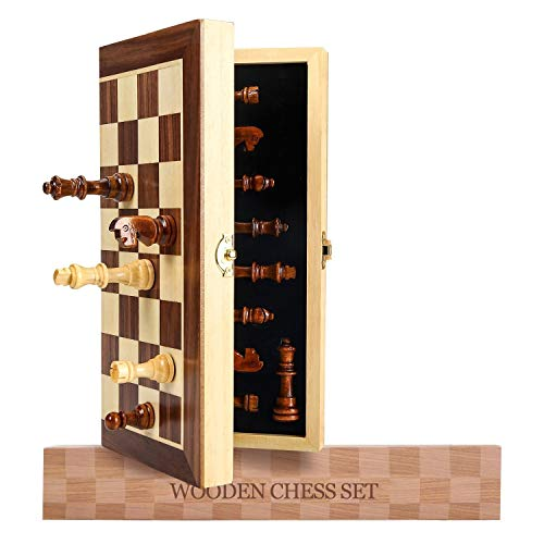 Magnetic Travel Chess Set, Wooden Board Games Chess Set for Adults, Folding Chess Set Game Board with Magnetic Crafted Chess Pieces Includes Extra Kings Queens, 12? x 12?