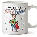 MUGFFINS Taza Papá - Aquí Bebe un Super Padre - Taza Desayuno/Idea Regalo Día...