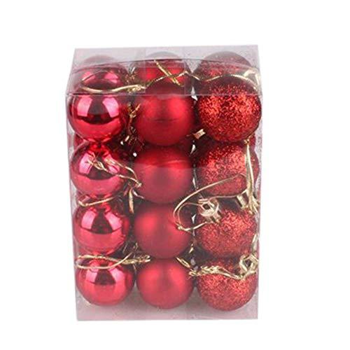 Bolas de Navidad, 24 piezas, 30 mm, Bolas de árbol de Navidad, Adornos, Decoración navideña, Decoración colgante para el hogar, fiesta, decoración, Feliz Navidad, Regalos de Navidad (color: rojo)