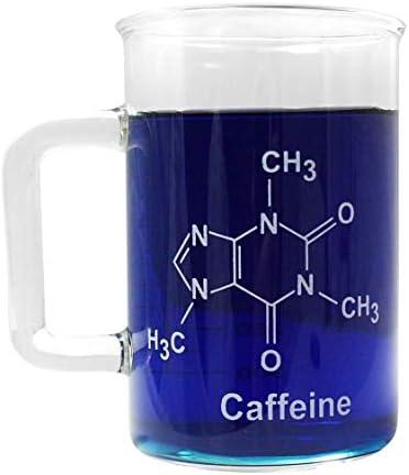 400mL Caffeine Molecule Glass Beaker Mug w Handle OnlineScienceMall Logo product image