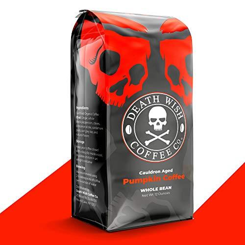 DEATH WISH COFFEE Organic Pumpkin Spice Dark Roast Coffee Whole Bean [12 oz.] The World's Strongest, Fair Trade, Arabica, Robusta, Chai, Cardamom, Cinnamon, and Ginger Infused Spices