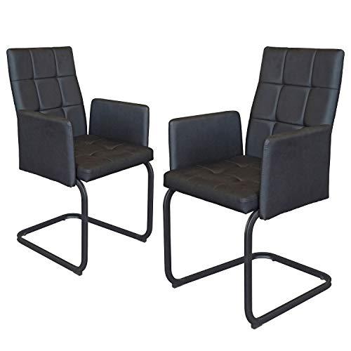 B&D home - Esszimmerstühle 2er Set | Vintage freischwinger Stühle mit Armlehne | Kunstleder schwarz
