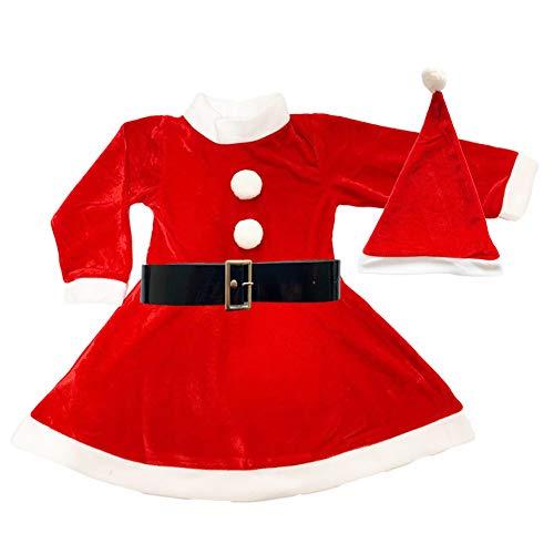 Disfraz de Mama Noel para Nia - Vestido,Gorro y cinturn para Navidad o Cosplay,Conjunto de 3pcs,Rojo (4-6ao)