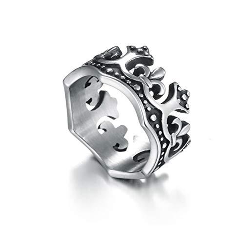 JINGJING Ring aus Titanstahl Ring der Männer Punk Gotisch Rock Retro Krone Rom Ring aus Edelstahl,Silver,diameter22mm
