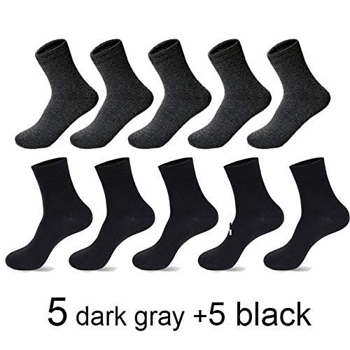 2 Pares de Calcetines de algodón para Hombres nuevos, Negros, Informales, Transpirables, de Primavera y Verano, Calcetines para Hombres, Meias Sokken, Talla 38-45-5black 5 Dark Gray-Plus Size 43-45