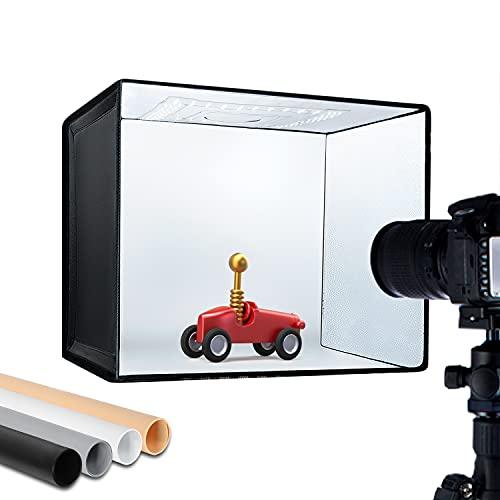 ESDDI Photo Studio Light Box 16'x12'/40x30cm Adjustable Brightness Portable Folding Photo Box...